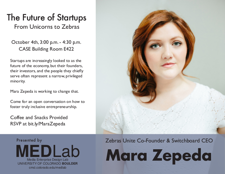Event poster with Mara Zepeda